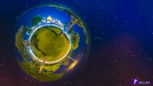 Spherical panorama of a Temple with compositng