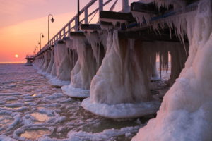 Frozen pier in Gdynia Orłowo